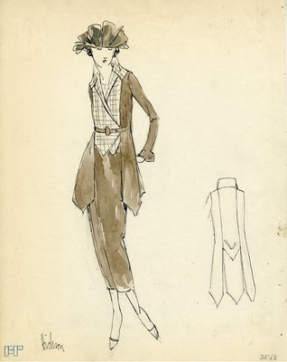 Original sketch from A. Beller & Co. of a Hickson design, 1921-1922