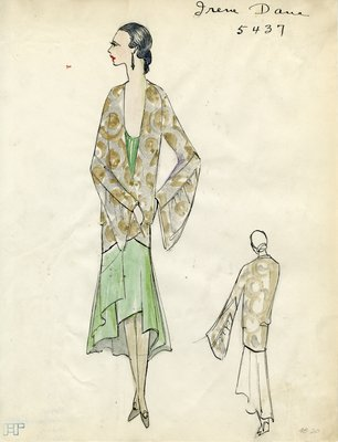 Original sketch from A. Beller & Co. of an Irene Dana design, Summer Fall 1929