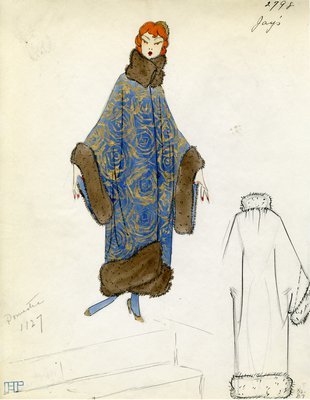 Original sketch from A. Beller & Co. of a Jays design, Fall 1923