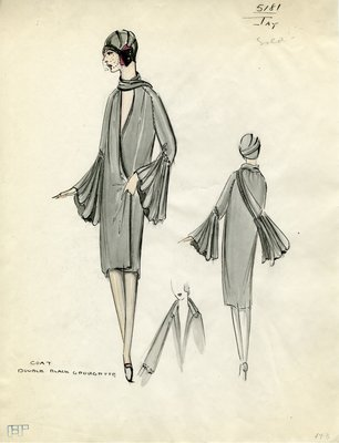 Original sketch from A. Beller & Co. of a Jays design, Fall 1928
