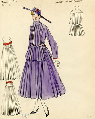 Original sketch from A. Beller & Co. of a Jenny design, circa 1915-1920