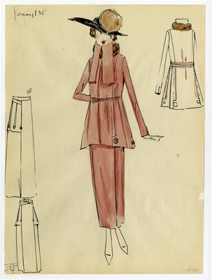 Original sketch from A. Beller & Co. of a Jenny design, circa 1918-1920
