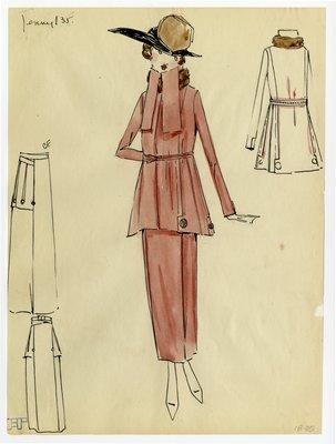 Original sketch from A. Beller & Co. of a Jenny design, circa 1918-1920