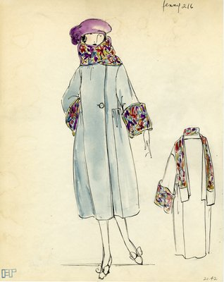 Original sketch from A. Beller & Co. of a Jenny design, circa 1920