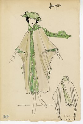 Original sketch from A. Beller & Co. of a Jenny design, Spring 1921