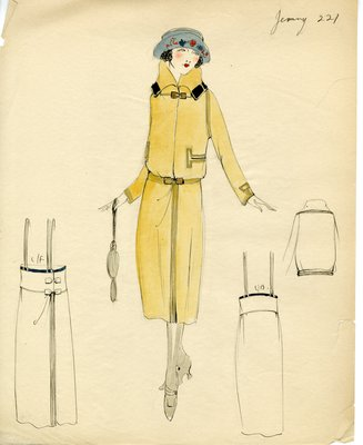 Original sketch from A. Beller & Co. of a Jenny design, circa 1925-1929
