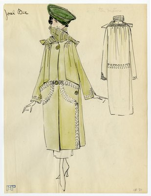 Original sketch from A. Beller & Co. of a Joal Ber design, circa 1918-1920