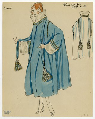 Original sketch from A. Beller & Co. of a Lanvin design, circa 1918-1920