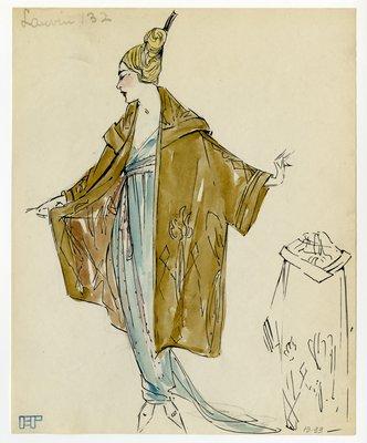 Original sketch from A. Beller & Co. of a Lanvin design, circa 1918-1920