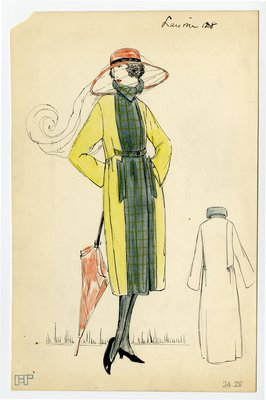 Original sketch from A. Beller & Co. of a Lanvin design, Spring 1921