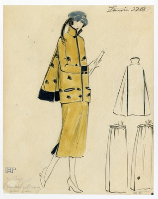 Original sketch from A. Beller & Co. of a Lanvin design, circa 1921-1922