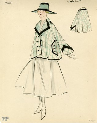 Original sketch from A. Beller & Co. of a Weeks design, circa 1915-1920