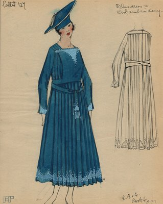 Original sketch from A. Beller & Co. of a Callot Soeurs design, circa 1918