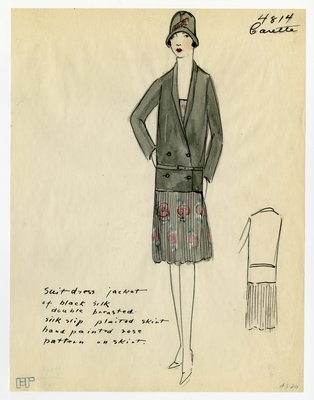 Original sketch from A. Beller & Co. of a Carette design, Summer 1927