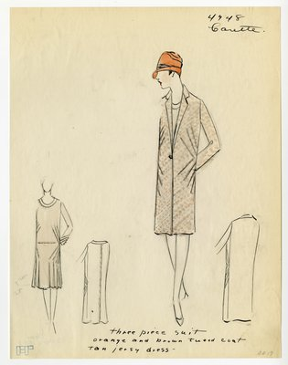 Original sketch from A. Beller & Co. of a Carette design, Fall/Winter 1927-1928