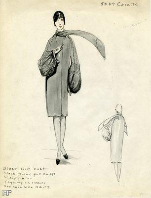 Original sketch from A. Beller & Co. of a Carette design, Summer 1928