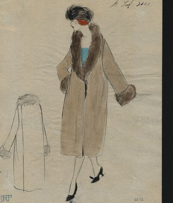 Original sketch from A. Beller & Co. of a Galeries Lafayette design, circa 1920