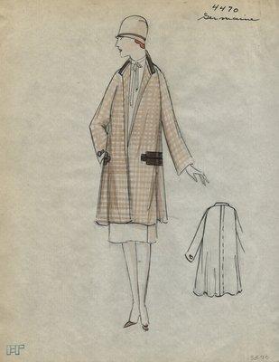 Original sketch from A. Beller & Co. of a Germaine coat, Summer 1926