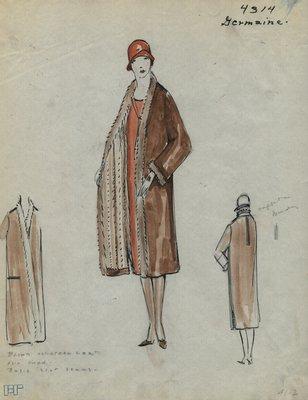 Original sketch from A. Beller & Co. of a Germaine coat, circa 1927