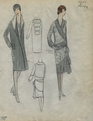 Original sketch from A. Beller & Co. of a Goupy ensemble, Summer 1928