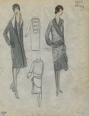 Original sketch from A. Beller & Co. of a Goupy ensemble, Summer 1928