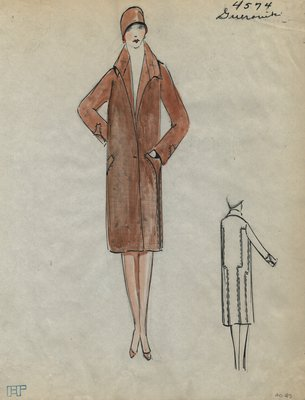 Original sketch from A. Beller & Co. of a Guerouite coat, Winter 1926-1927