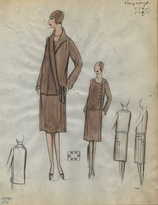 Original sketch from A. Beller & Co. of a Hayward ensemble Palm Beach, Winter 1928