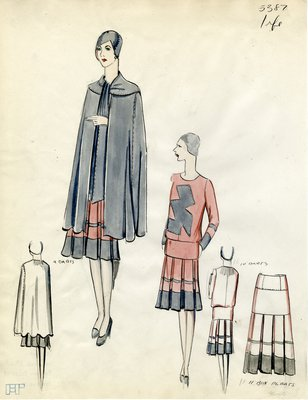 Original sketch from A. Beller & Co. of an Irfé design, Winter 1928