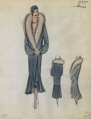 Original sketch from A. Beller & Co. of a Jays coat with fur collar, 1929