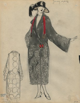 Original sketch from A. Beller & Co. of a Jenny coat, circa 1922
