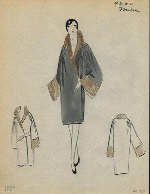 Original sketch from A. Beller & Co. of a Miler Soeurs coat, Winter 1926
