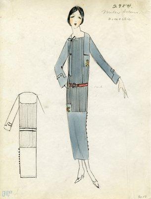 Original sketch from A. Beller & Co. of Miler Soeurs design, Spring Summer 1923
