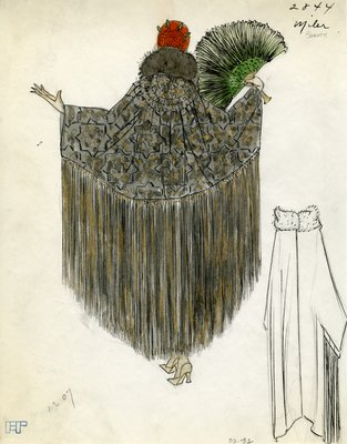 Original sketch from A. Beller & Co. of a Miler Soeurs design, Fall 1923