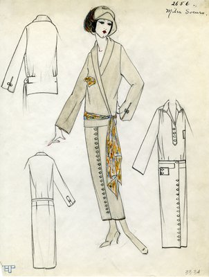 Original sketch from A. Beller & Co. of a Miler Soeurs design, Spring 1923