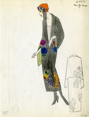 Original sketch from A. Beller & Co. of a Molyneux design, Spring 1923
