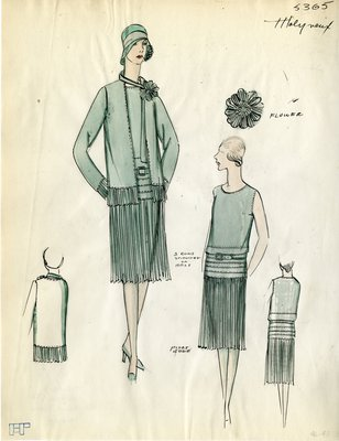 Original sketch from A. Beller & Co. of a Molyneux design, Winter 1928