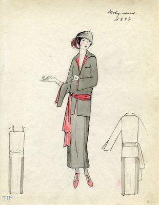 Original sketch from A. Beller & Co. of a Molyneux design, Winter 1923