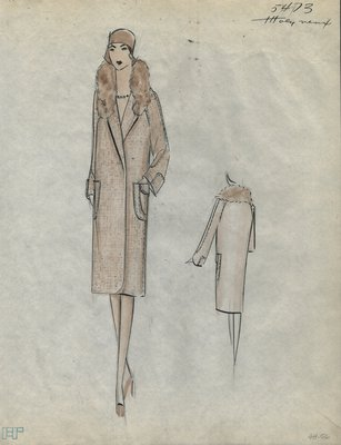 Original sketch from A. Beller & Co. of a Molyneux design, Summer 1929