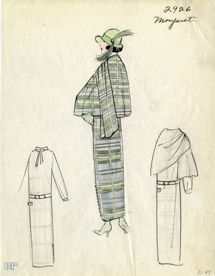 Original sketch from A. Beller & Co. of a Monjaret design, Winter 1923