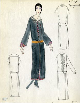 Original sketch from A. Beller & Co. of a Monjaret design, Spring 1923