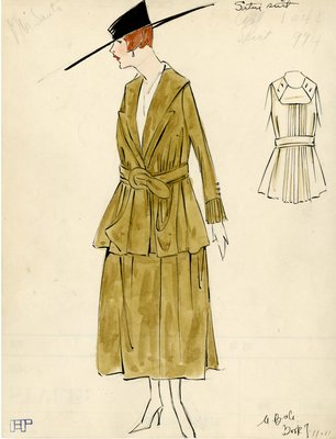 Original sketch from A. Beller & Co. of a Monte Santo design, circa 1917-1920
