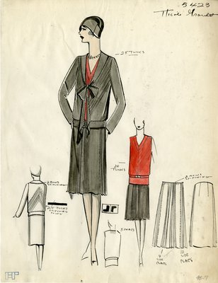 Original sketch from A. Beller & Co. of a Nicole Groult design, Summer 1929