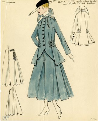 Original sketch from A. Beller & Co. of a Paquin design, circa 1915-1920