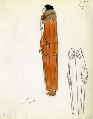 Original sketch from A. Beller & Co. of a Paquin design, Fall 1923