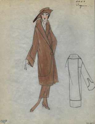 Original sketch from A. Beller & Co. of a Paquin coat, Spring 1923