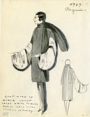 Original sketch from A. Beller & Co. of a Paquin design, Fall Winter 1927-1928