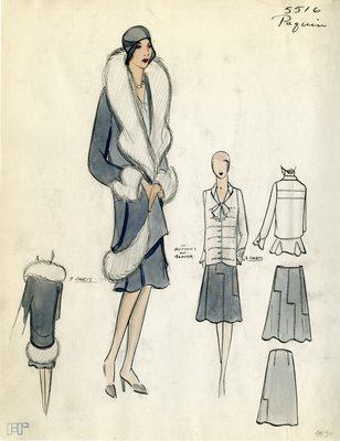 Original sketch from A. Beller & Co. of a Paquin design, Fall Winter 1929