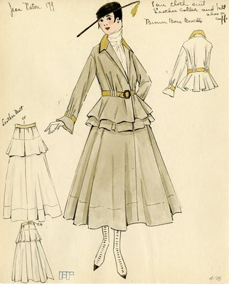 Original sketch from A. Beller & Co. of a Patou design, circa 1915-1920