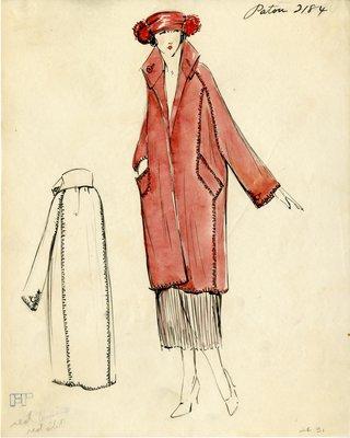 Original sketch from A. Beller & Co. of a Patou design, circa 1921-1922