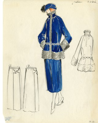 Original sketch from A. Beller & Co. of a Patou design, circa 1922